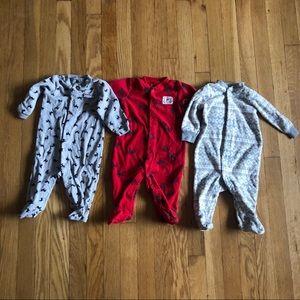 3 Carters Sleep and Play Fleece PJ's Size 6m